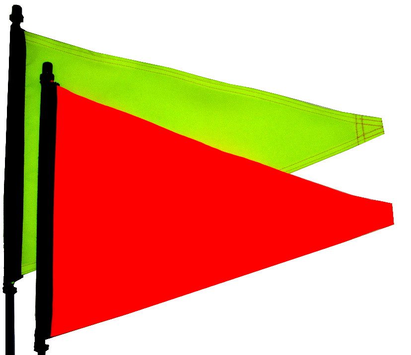 flourescent pennant flags