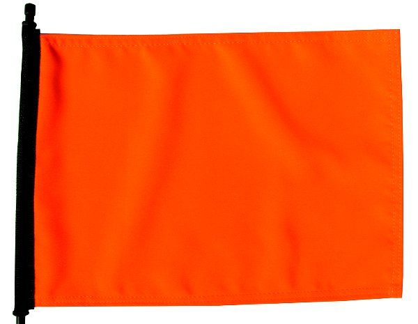 high visibility orange flag
